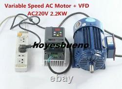 500-1400rpm AC220V 2.2KW Low rpm Motor Variable Speed AC Motor+ VFD Inverter New