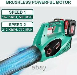 HYCHIKA 36V Cordless Leaf Blower Powerful Brushless Motor with 2 Variable Speeds