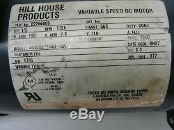 Hill House Products Variable Speed DC Motor. 22256800. ½ HP, 1725 RPM