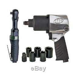 Impact/Ratchet Air Tool Kit Variable Speed trigger Powerful 6-Vane Motor 9-Pcs