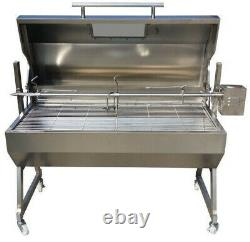 Large 1.2m Stainless 30-100kg Hooded Spit Roaster Rotisserie Charcoal BBQ Grill