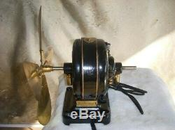 Rare Variable 3 Speed Double Shaft Pancake Motor / Electric Fan With Brass Blade
