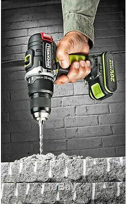 Rockwell Hammer Drill 20V Lithium-Ion Brushless Motor Variable Speed LED Light