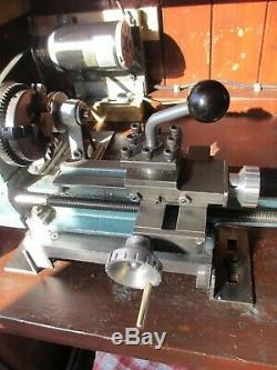 Simat 101 Flexispeed Small Lathe with variable speed motor and accessories