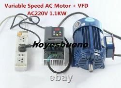 Variable Speed AC Motor Low rpm Motor + VFD Inverter AC220V 1.1KW 600- 2800rpm